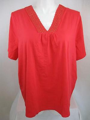 Liz & Me for Catherines Plus Size Short Sleeve Bib Front Top with White Insert