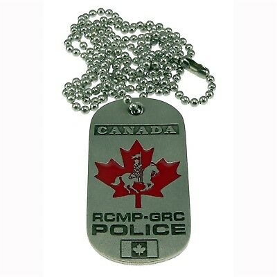 RCMP Canada Royal Canadian Mounted Police Maple Leaf Pewter Dog Tag Neck Chain