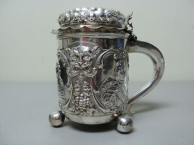 RARE 19th C. SILVER LIDDED TANKARD HEAVILY CHASED PORTRAITS & MASK DECORATION