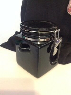 Black Glazed Ceramic metal clasp coffee cannister with awesome handle