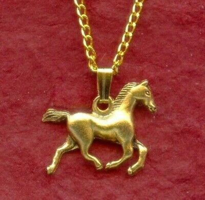 Horse Necklace Gold Plated New Charm Pendant and Chain 3D Great Gift