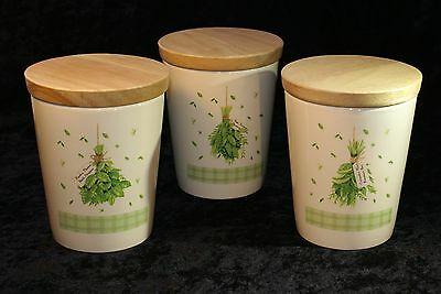 Pimpernel Set of 3 with Lids Canister Set with Herb Motif