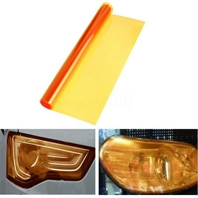 "12 x 48"" Amber Orange Car Tint Headlight Tail Fog Light Vinyl Smoke Film Sheet"
