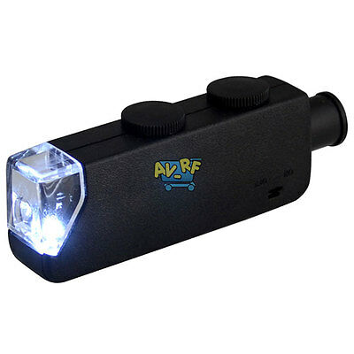 Portable Handheld 60x-100x Zoom Pocket Microscope Magnifier Loupe W/ LED Light