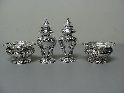 "Set/4 Antique Gorham Sterling ""chantilly Grand"" Salt Cellars & Pepper Shakers"