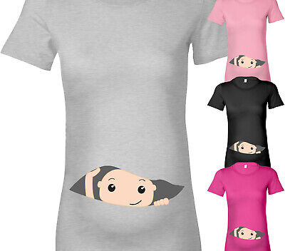 Womens Peeking Baby Maternity T Shirt Fun Cute Pregnancy T Shirt Shower Gift