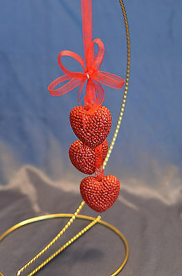 Red Glitter 3 Tier Dangle Hearts with Bow Christmas Tree Ornament new