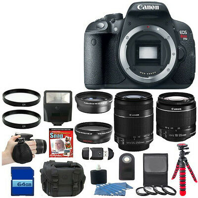 NEW Canon EOS Rebel T5i 700D Camera + 8 Lens Kit 18-55 STM 55-250mm + 64GB Kit