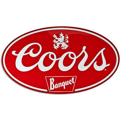 Coors Banquet Oval Metal Sign Vintage Beer and Home Bar Decor 18x10.5