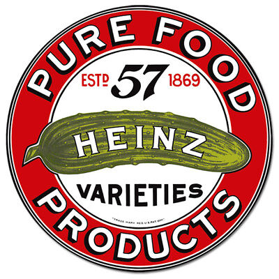Heinz Pure Food Products Logo Metal Sign Vintage Style Kitchen Decor 14.25 in.