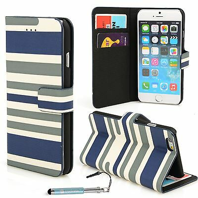 For Apple iPhone 6S 6 Leather Case Stripes Design Wallet Credit Card cover