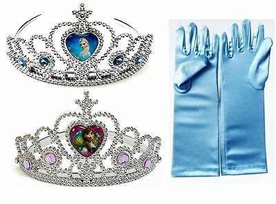 New Frozen Elsa Anna Rhinestone Tiara Crown Gloves For Girls Costume Cosplay