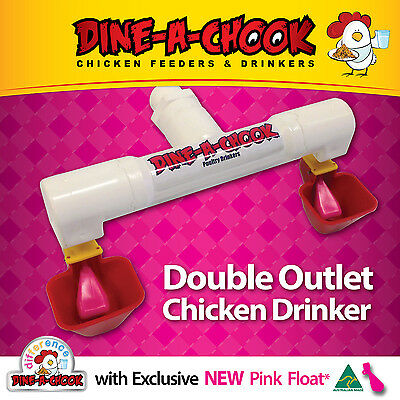 Double outlet Cup Drinker / Waterer for 6-8 Layers / Chickens / Poultry PINK