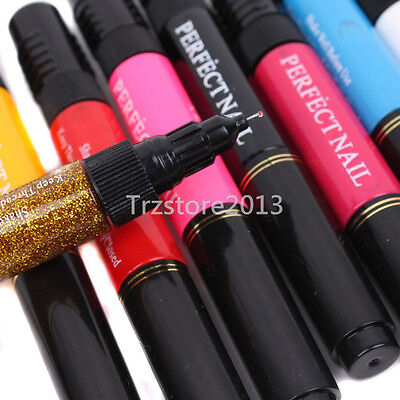 12 Color Solid Glitter 3D Nail Art Two Way Polish Brush Pen Draw Painting Tools