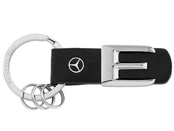 Genuine Mercedes-Benz Leather/Stainless Steel E-Class Key ring B66957998 NEW!