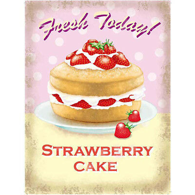 Strawberry Cake Fresh Today Metal Sign Vintage Style Bakery Kitchen 12 x 16