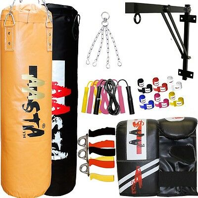 PRO Boxing MMA Set Un-Filled Punch Bag + Folding Wall Bracket,Chain, Mitts, Rope