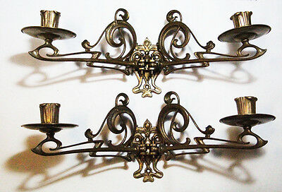 Stunning antique Art Nouveau pair of sconces for candle swing in / out