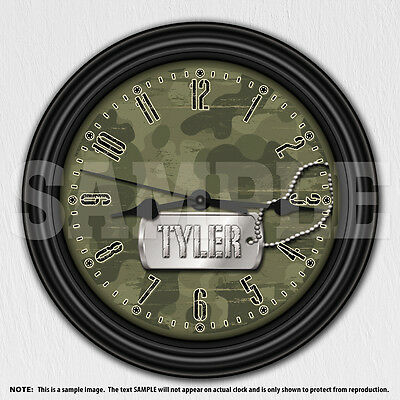 Boys or Girls Camouflage Personalized Wall Clock - Camo Army - Wall Decor
