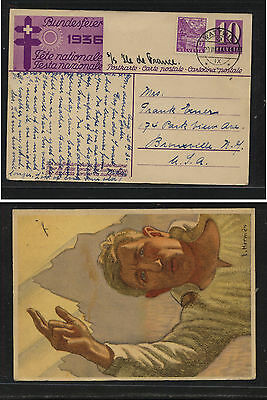 Switzeralnd  nice uprated color postal card to US  1936      AT0525
