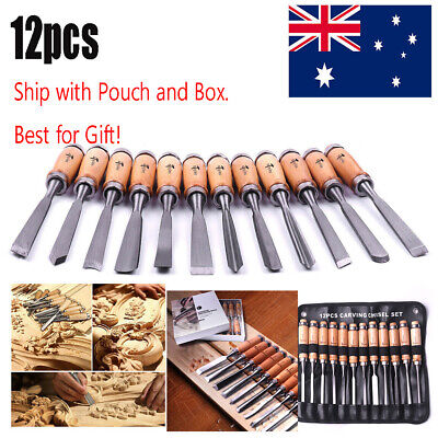 12x Wood Carving Chisels Hand Tools Kit w Alloy steel blade AU Stock