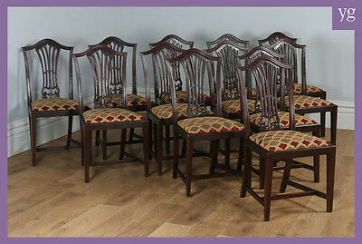 Antique 12 Twelve Mahogany Chippendale Georgian Style Leather Dining Side Chairs