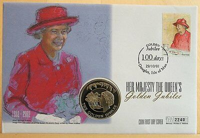 First Day Coin Cover -The Queen's Golden Jubilee 2002 50p Isle of Man Cover 2240