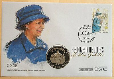 First Day Coin Cover -The Queen's Golden Jubilee 2002 50p Isle of Man Cover 0257
