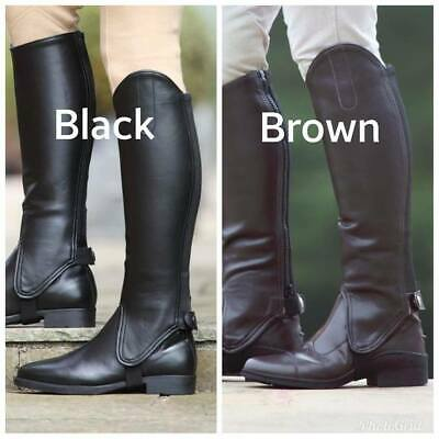 Shires Synthetic Equi Leather Show Gaiters Adults Horse Riding Half Chaps  SALE