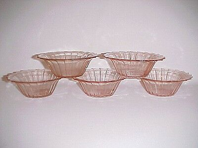 5 Vintage Matching Pink Sierra Small Bowls / Jeannette Glass Co