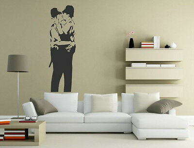Puzzling, stimulating Banksy style Kissing Cops decor original wall stickers NEW