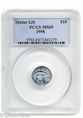 1998 PCGS MS-69  $10 American Platinum Eagle   RARE   Old  PNG Slabbed Coin