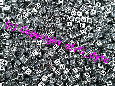 100 Silver Coloured Alphabet Mixed Letters Cube Beads 6mm BUY 3 FOR 2