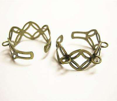 4pc antique bronze  adjustable ring shanks with 3 loops-9559
