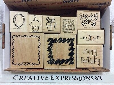 Stampin' Up Lot Of 9 Birthday Rubber Stamps G/U ExCondition