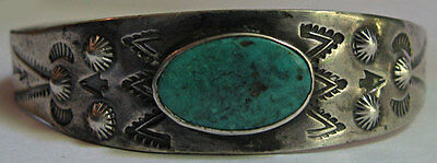 Vintage Navajo Indian Silver Stamped Designs Turquoise Cuff Bracelet