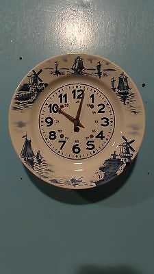 1930S CHARGER WITH BLUE DELFT KITCHEN WALL CLOCK
