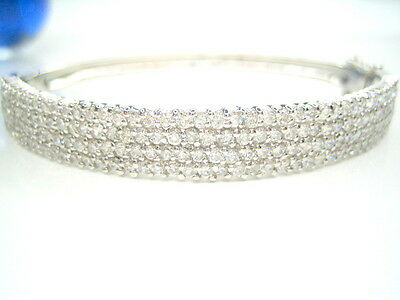 3Ct Diamonique Pave 4-Row 8Mm Sterling Silver 18K Clad Bangle