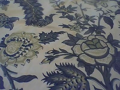 Floral & Grape Upholstery Fabric Vintage 60's - 70s Greens and Greys