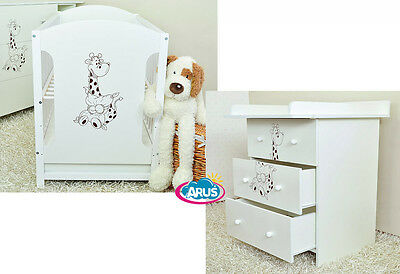 Baby furniture set MIKI: cot with drawer + chest with drawers + mattress