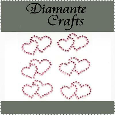 6 Light Pink Diamante Double Hearts Self Adhesive Rhinestone Craft Embellishment