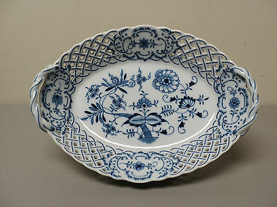 "Gorgeous Meissen ""blue Onion"" 11"" Reticulated Oval Basket / Dish"