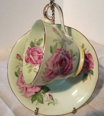 Aynsley Made In England Tea Cup & Saucer Pale Green With Pink Roses ANTIQUE