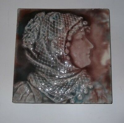 ANTIQUE Trent PORTRAIT TILE ~  gorgeous color glaze ~ 6x6   raised design