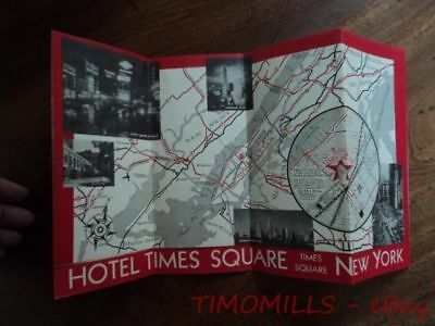 c.1935 Hotel Times Square Brochure Swell Rooms with Running Water $1.75 Vintage