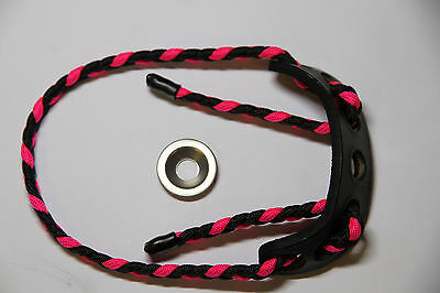 Paradox Adjustable Archery Bow Sling BLACK/NEON PINK Braided