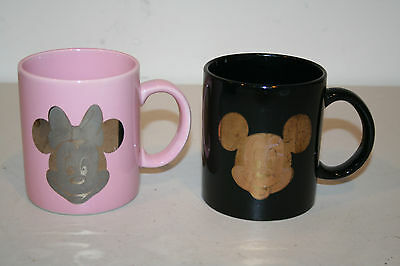 Mickey and Minnie in Gold  Set of 2 Vintage Coffee Mugs / Cups Official