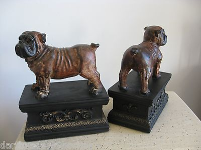 ENGLISH BULLDOG BOOKENDS SET ● DETAILED HEAVY LARGE ● STAINED WOOD RESIN NEW EXC