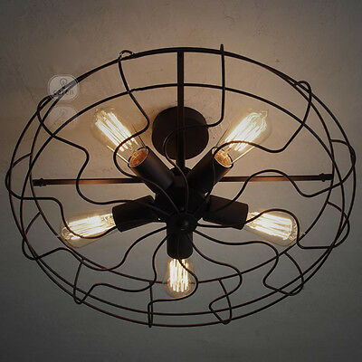 Vintage French 5 Lights Black Metal+Glass Fan Industry Ceiling Lamp