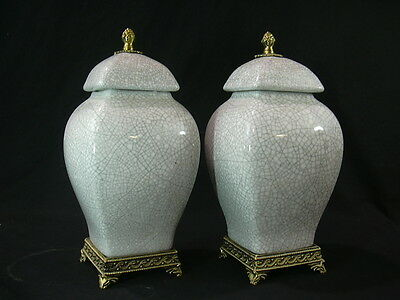 A Pair of Porcelain Square Vase - Northern Song Ge Kiln  仿哥窑